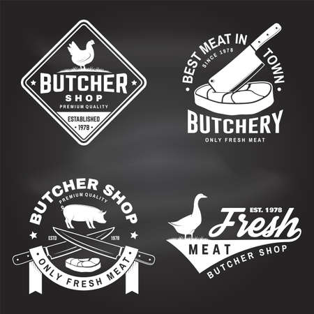 Set of butcher shop badge or label with goose, chicken, cow, pig and kitchen knife on chalkboard. Vector illustration. Butchery meat shop, market, restaurant business.