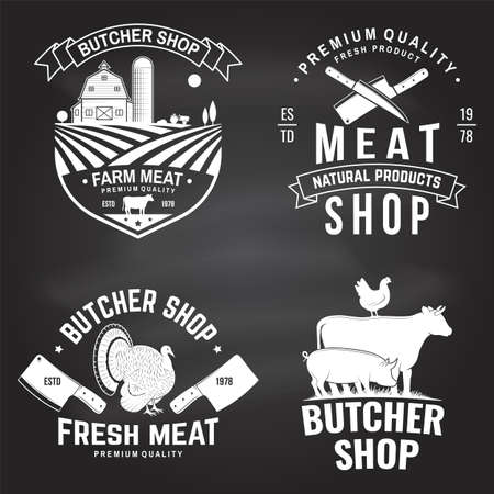 Set of butcher shop badge or label with cow, Beef, chicken. Vector. Vintage typography   design with cow, chicken silhouette. Butchery meat shop, market, restaurant business. Reklamní fotografie - 151783832
