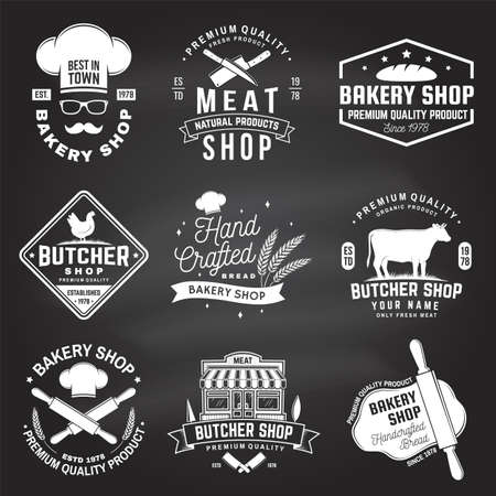 Set of butcher shop and Bakery shop badge, label. Vector. Vintage  design with cow, chicken, rolling pin, dough, silhouette. For restaurant identity objects, packaging, menu Reklamní fotografie - 151783831