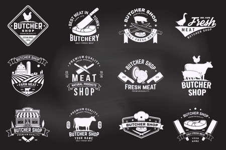 Set of butcher shop badge or label with cow, Beef, chicken. Vector. Vintage typography  design with cow, chicken silhouette. Butchery meat shop, market, restaurant business.