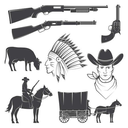 Set of cowboy club icon. Vector. Concept for shirt,   print, stamp, tee with cowboy and shotgun. Vintage typography design with wild west icon and western rifle silhouette. Reklamní fotografie - 151783838