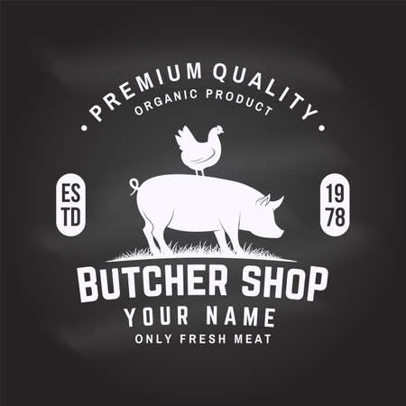 Butcher shop Badge or Label with Beef, pork, pig, chicken. Vintage typography logo design with Beef, pork, pig, chicken silhouette. Butchery meat shop, market, restaurant business.