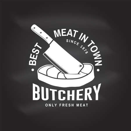 Butcher meat shop Badge or Label with Steak and kitchen knife. Vector Vintage typography logo design with steak, kitchen knife silhouette. Elements on the theme of the meat shop, market, restaurant Reklamní fotografie - 152272450