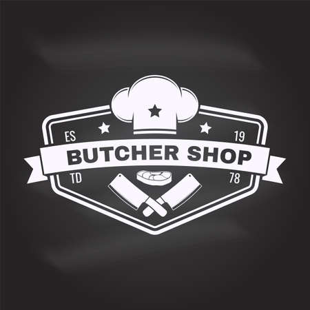 Butcher meat shop Badge or Label with Steak, chef hat, kitchen knife. Vector. Vintage typography logo design with steak, chef hat, kitchen knife silhouette. Meat shop, market, restaurant