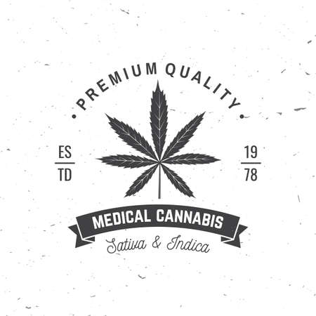 Medical cannabis badge, label with cannabis leaf and ribbon. Vector Vintage typography logo design with cannabis leaf and ribbon silhouette For weed shop, cannabis, marijuana delivery service Reklamní fotografie - 152272474