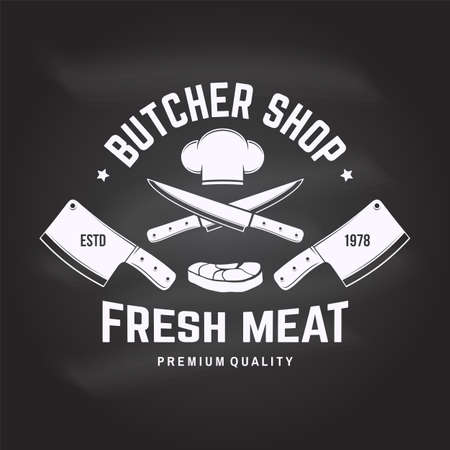 Butcher meat shop Badge or Label with Steak, chef hat, kitchen knife. Vector. Vintage typography logo design with steak, chef hat, kitchen knife silhouette. Meat shop, market, restaurant Reklamní fotografie - 152272483