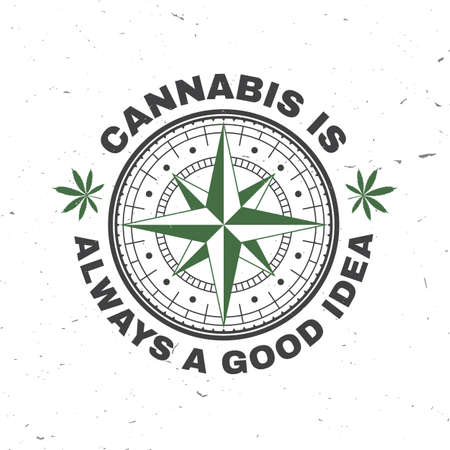 Medical cannabis badge, label with cannabis leaf and wind rose. Vector Vintage typography  design with cannabis leaf and wind rose silhouette For weed shop, cannabis, marijuana delivery service