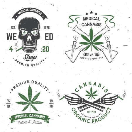 Medical cannabis badge, label with skeleton hand, smoking marijuana Vector. Vintage typography  design with cannabis, skeleton hand silhouette For weed shop, cannabis, marijuana delivery service