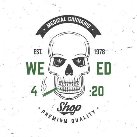 Medical cannabis badge, label with skeleton skull, smoking marijuana Vector. Vintage typography  design with cannabis, skull, skeleton hand silhouette For weed shop, marijuana delivery service Ilustrace