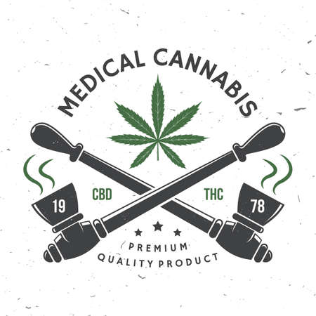Medical cannabis badge, label with cannabis leaf, marijuana pipe Vector Vintage typography  design with cannabis leaf, marijuana pipe silhouette For weed shop cannabis, marijuana delivery service Ilustrace