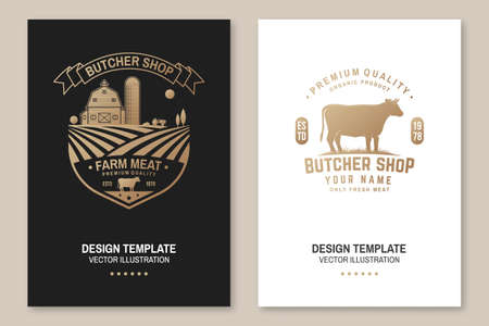 Butcher shop Badge or Label with cow, Beef, farm. Vector. Vintage typography   design with cow silhouette. Elements on the theme of the butchery meat shop, market, restaurant business.