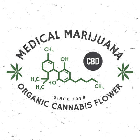 Medical cannabis badge with cannabis leaf, cannabinol molecule . Vector. Vintage typography  design with cannabis leaf silhouette For weed shop, cannabis, marijuana delivery service