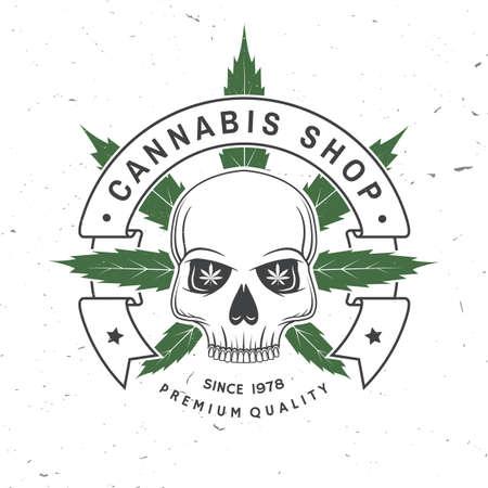 Medical cannabis shop badge, label with skeleton skull. Vector. Vintage typography  design with cannabis, skeleton skull silhouette For weed shop, cannabis, marijuana delivery service