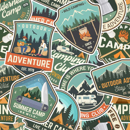 Summer camp colorful seamless pattern with rv trailer, camping tent, campfire, bear, man with guitar and forest. Vector. Background, wallpaper, seamless pattern with patches