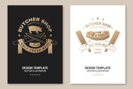 Butcher meat shop Badge or Label with Pig, pork, Steak and kitchen knife. Vector Vintage typography  design with Pig, pork, steak, kitchen knife silhouette. Meat shop, market, restaurant