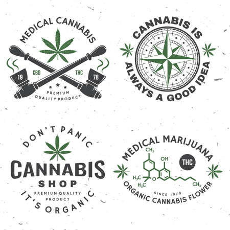 Set of medical cannabis badge, label with cannabis leaf, marijuana pipe Vector Vintage typography  design with cannabis leaf, marijuana pipe silhouette For weed shop, marijuana delivery service