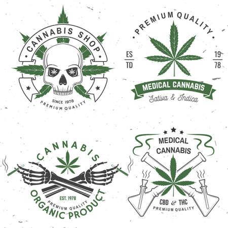 Set of medical cannabis badge, label with skull, skeleton hand, smoking marijuana. Vector Vintage typography  design with cannabis, skeleton hand silhouette For weed shop, marijuana delivery