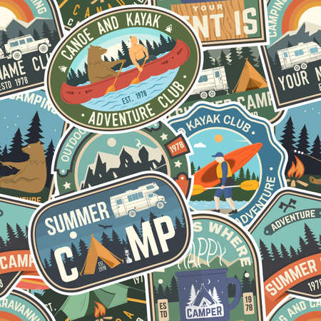 Summer camp colorful seamless pattern with rv trailer, camping tent, campfire, bear, canoe and kayak. Vector. Background, wallpaper, seamless pattern with patches Ilustrace