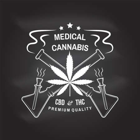 Medical cannabis badge, label with cannabis leaf and glass bong. Vector Vintage typography  design with cannabis leaf and glass bong silhouette For weed shop, cannabis, marijuana delivery service