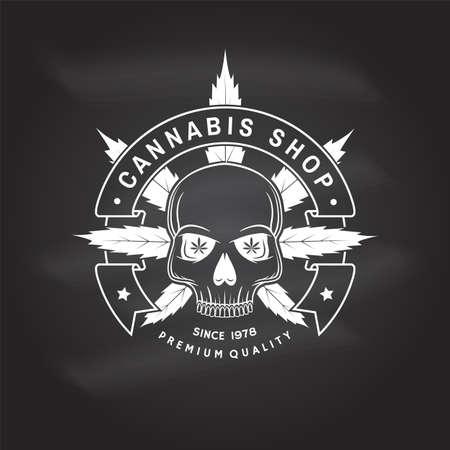 Medical cannabis shop badge, label with skeleton skull. Vector. Vintage typography logo design with cannabis, skeleton skull silhouette For weed shop, cannabis, marijuana delivery service