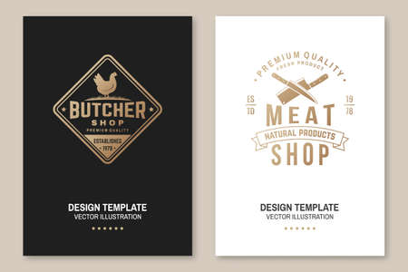 Butcher meat shop with chicken Badge or Label. Vector. Vintage typography logo design with chicken silhouette. Elements on the theme of the chicken meat shop, market, restaurant business. Ilustrace