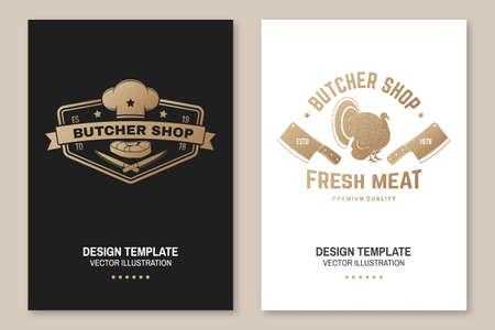 Butcher meat shop Badge or Label with turkey and kitchen knife. Vector Vintage typography logo design with turkey and kitchen knife silhouette. Meat shop, market, restaurant Ilustrace