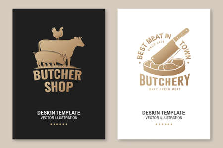 Butcher shop Badge or Label with cow, pig, chicken,beef. Vector. Vintage typography logo design with cow, pig, chicken,beef silhouette. For poster, flyer, template Ilustrace