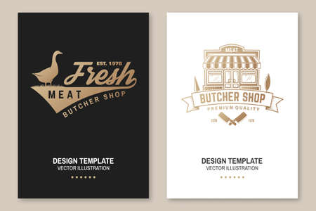 Butcher meat shop Badge or Label with goose and kitchen knife. Vector Vintage typography logo design with goose and kitchen knife silhouette. Meat shop, market, restaurant