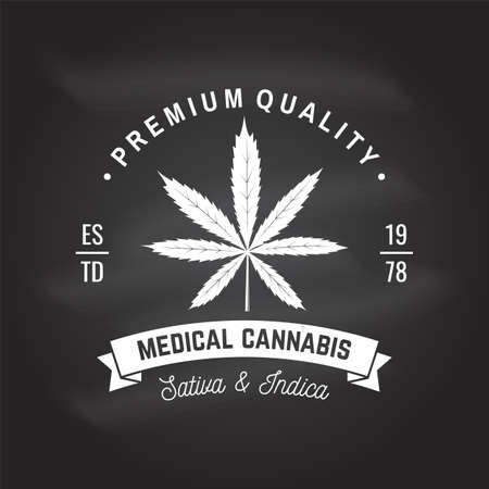 Medical cannabis badge, label with cannabis leaf and ribbon. Vector Vintage typography logo design with cannabis leaf and ribbon silhouette For weed shop, cannabis, marijuana delivery service