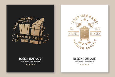Set of Honey bee farm poster, flyer, template. Vector. Vintage typography design with bee, hive and honey dipper silhouette. Design for honey bee farm business