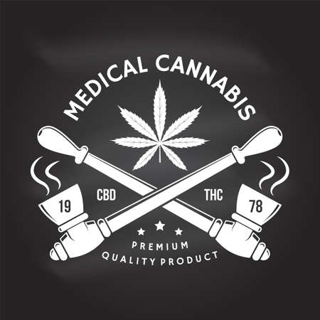 Medical cannabis badge, label with cannabis leaf, marijuana pipe Vector Vintage typography logo design with cannabis leaf, marijuana pipe silhouette For weed shop cannabis, marijuana delivery service