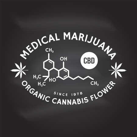 Medical cannabis badge with cannabis leaf, cannabinol molecule . Vector. Vintage typography logo design with cannabis leaf silhouette For weed shop, cannabis, marijuana delivery service Ilustrace