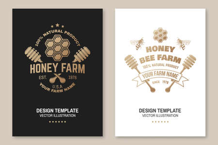 Honey farm badge. Vector. Concept for poster, flyer, template. Vintage typography design with honeycomb piece and honey dipper silhouette. Retro design for honey bee farm business Ilustrace