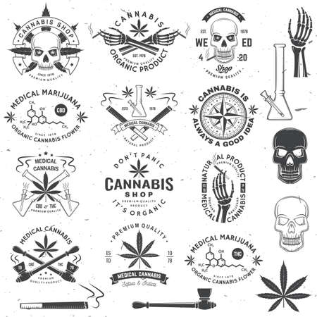 Set of medical cannabis badge, label with skull, skeleton hand, smoking marijuana. Vector Vintage typography logo design with cannabis, skeleton hand silhouette For weed shop, marijuana delivery Ilustrace