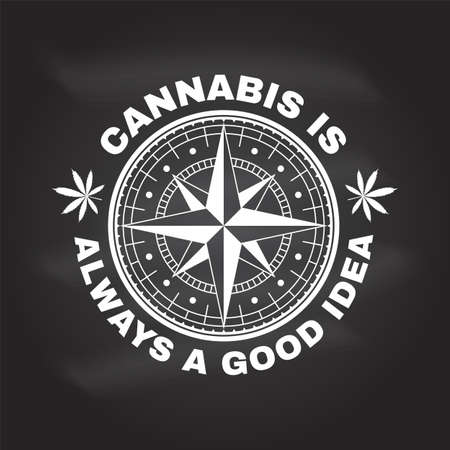 Medical cannabis badge, label with cannabis leaf and wind rose. Vector Vintage typography logo design with cannabis leaf and wind rose silhouette For weed shop, cannabis, marijuana delivery service