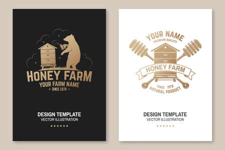 Honey bee farm poster, flyer, template. Vector. Vintage typography design with bee, hive and honey dipper silhouette. Design for honey bee farm business