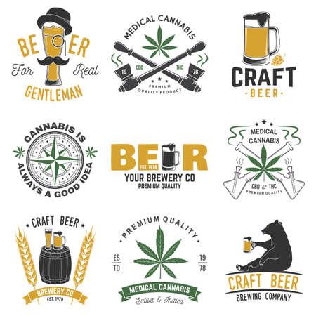 Set of medical cannabis and craft beer badge, label with skull, skeleton hand, smoking marijuana. Vector illustration. For weed shop, marijuana delivery, bar, pub Ilustrace