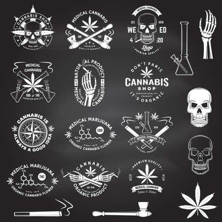 Set of medical cannabis badge, label with skull, skeleton hand, marijuana. Vector. Vintage typography logo design with cannabis, skeleton hand silhouette For weed shop, marijuana delivery