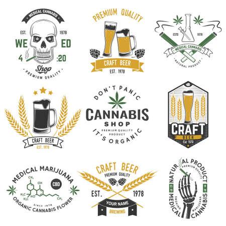 Set of medical cannabis and craft beer badge, label with skull, skeleton hand, smoking marijuana. Vector illustration. For weed shop, marijuana delivery, bar, pub