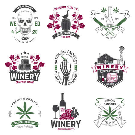 Set of wine company and medical cannabis shop badge. Vector. Concept for shirt, print, stamp or tee. Design for winery company, bar, pub, weed shop, marijuana delivery Vetores