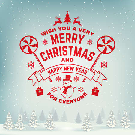 Wish you a very Merry Christmas and Happy New Year stamp, sticker set with snowflakes, christmas candy, snowman. Vector. Vintage typography design for xmas, new year emblem in retro style