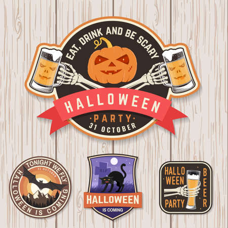 Halloween Beer party patch. Halloween retro badge, pin. Sticker for print, seal. Scarecrow with raven, pumpkin, skeleton hand with glass of magic beer.