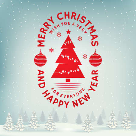 Merry Christmas and Happy New Year stamp, sticker set with snowflakes, hanging christmas ball, tree. Vintage typography design for xmas, new year emblem in retro style. Vector Illustration