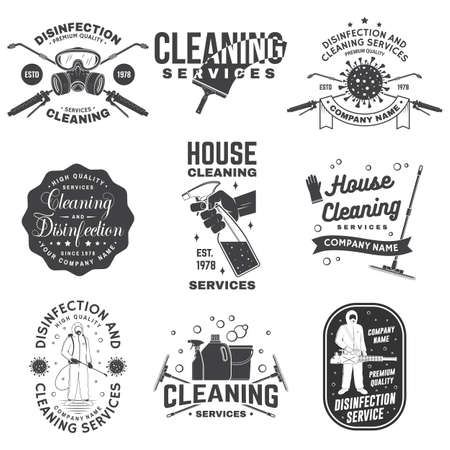 Set of Disinfection and cleaning services badge, emblem. Vector For professional disinfection and cleaning company. Vintage typography design with disinfectant and cleaning equipments Vector Illustratie