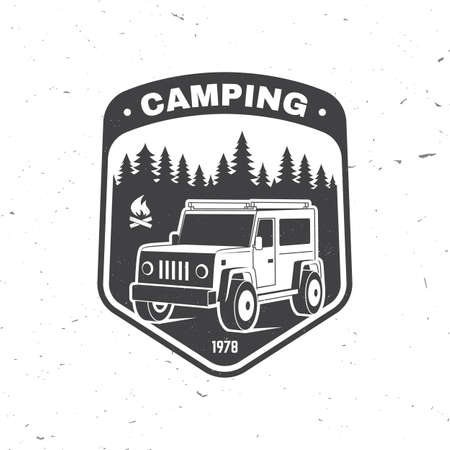 Camping. Vector. Concept for shirt or , print, stamp or tee. Vintage typography design with 3d off-road car and forest silhouette.