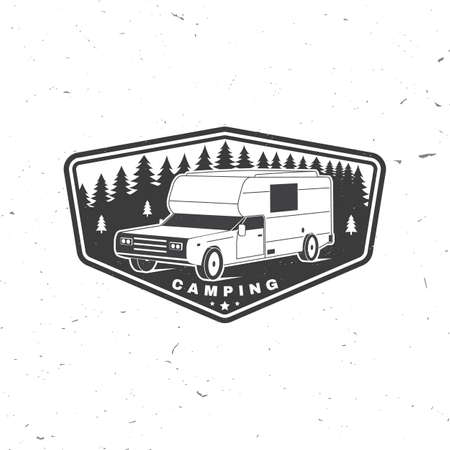 Summer camp. Vector. Camping trailer emblem or patch. Concept for shirt or  print, stamp or tee. Vintage typography design with RV Motorhome and forest silhouette.