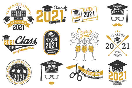 Set of Vector Class of 2021 badges Concept for shirt, print, seal, overlay or stamp, greeting, invitation card. Typography design- stock vector.