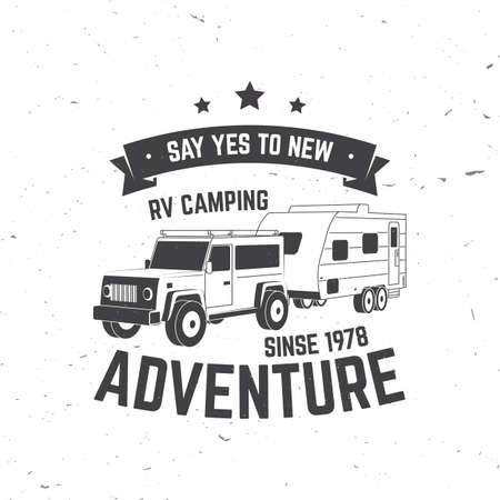 Camping. Vector. Concept for shirt or  print, stamp or tee. Vintage typography design with 3d off-road car and forest silhouette. Ilustração