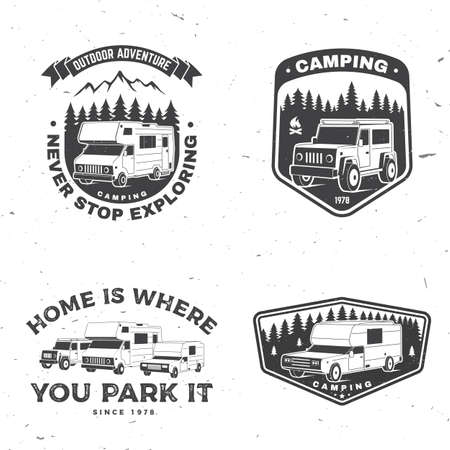 Set of rv camping badges, patches. Vector. Concept for shirt or  print, stamp or tee. Vintage typography design with RV Motorhome, camping trailer and off-road car silhouette.
