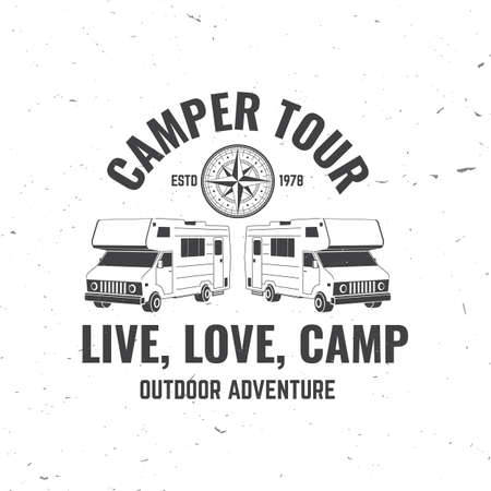 Camper tour. Live, love, camp. Camping quote. Vector illustration. Concept for shirt print, stamp or tee. Vintage typography design with 3d camper van, wind rose silhouette.